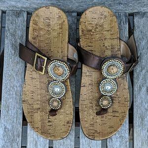 Vionic Adelie Boho T-Strap Sandal Embellished